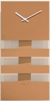 NeXtime NE-2855CO Wandklok 19 X 38 Cm, Glas, Koper, 'Bold Stripes'