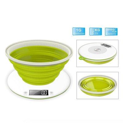 Efbe-Schott EKS1004 Digitale Keukenweegschaal + Inklapbare Maatschaal Wit/Groen