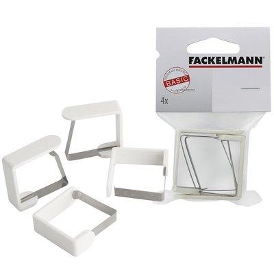 Fackelmann Tafelkleed Klemmen 4 Stuks 45 mm RVS/Wit