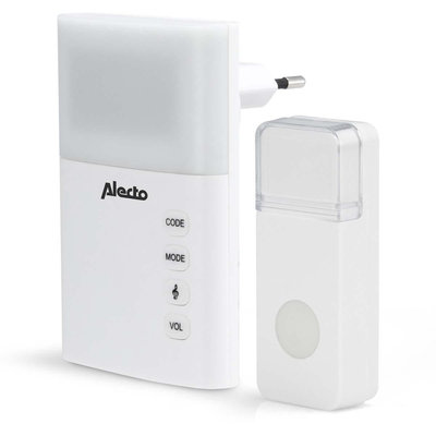 Alecto ADB-19 Plug-in Draadloze Deurbel Set 220v 36 Melodieën / Led-indicator Wit