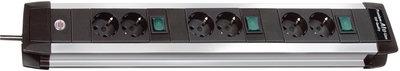 Brennenstuhl  BN-1391000078 Premium-alu-line Technics Extension Socket 3x2-way 3m H05 vv-f 3g1,5 Every 2 Sockets Switched