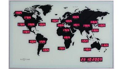 NeXtime NE-2897 Wandklok 55 X 36 Cm, Alu, World Time Digit